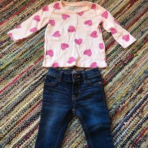 Cute heart Oshkosh two piece set